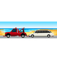 Car and truck parked on the road vector image vector image