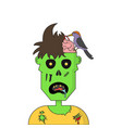 cartoon zombie head vector image vector image