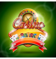 casino with roulette wheel and ribbon vector image vector image