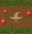 christmas with fir branch border frame on top vector image vector image