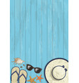 conceptual summer vertical banner on blue wooden vector image