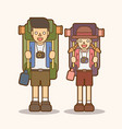 Couple carrying backpacks ready to travel