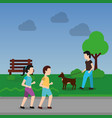 couple walking and man with dog in the park scene vector image