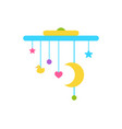 crib mobile above cradle with moving star and moon vector image vector image