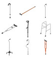 crutches icon set isometric style vector image vector image