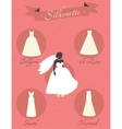 Different styles of wedding dresses vector image