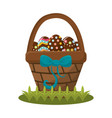 easter eggs inside of hamber with ribbon bow vector image