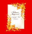 fall leaves orange card vector image vector image