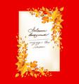 fall leaves orange card vector image