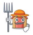 farmer cartoon funny dog house with dish vector image