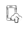 figure smartphone technology with cloud data icon vector image vector image
