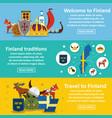 finland travel banner horizontal set flat style vector image vector image