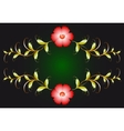 Floral ornament and red flowers on dark EPS10 vector image vector image