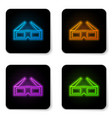 glowing neon 3d cinema glasses icon isolated on vector image vector image