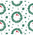 green and white mistletoe christmas pattern vector image vector image