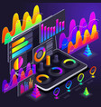 isometric holographic bright color graphics vector image vector image