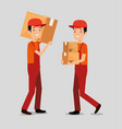 logistic services with team delivery workers vector image vector image