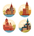 medieval castles and cathedrals church vector image vector image
