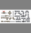 metal pipeline realistic industrial conduit with vector image