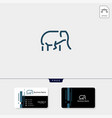minimal elephant logo template with outline style vector image