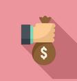 money bag loan icon flat style vector image vector image