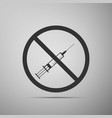 no syringe sign no vaccine icon isolated vector image vector image