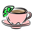 pink tea cup on white background vector image vector image