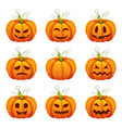 Pumpkin with funny faces halloween cartoon