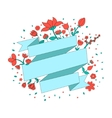 Red flowers ribbon frame for text placeholder vector image vector image