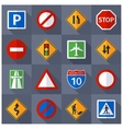 Road traffic signs flat icons set vector image