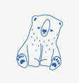 sad adorable baby polar bear hand drawn with blue vector image vector image