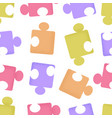 seamless pattern cartoon puzzle pieces with vector image vector image