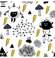 seamless pattern with strange creatures and vector image vector image