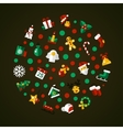 set christmas and happy new year flat design vector image vector image