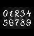 set of festive white ribbon digits iridescent vector image