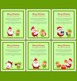 six merry christmas and happy new year posters vector image vector image
