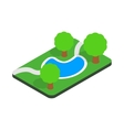 Small pond in the park icon isometric 3d style vector image vector image