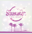 summer travel banner with palm trees and ship vector image vector image