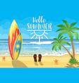 surfboards on a beach against a sunny seascape vector image vector image