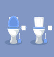 toilet bowl with open toilet seat paper and brush vector image