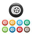 transport icons set color vector image vector image