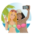 Two girls in bikini making photos of themselves vector image vector image