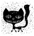 typography design of print with cat silhouette vector image vector image