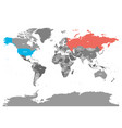 united states and russia highlighted on political vector image vector image