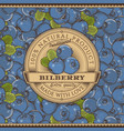 vintage bilberry label on seamless pattern vector image vector image