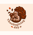 a child is embracing a turkey thanksgiving day vector image