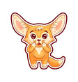 amazed fennec fox with paws on its head cute vector image vector image