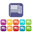 american flag icons set flat vector image vector image