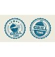 BBQ grill barbecue vintage steak menu seal stamp vector image vector image
