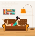 Beautiful girl with laptop on sofa vector image vector image